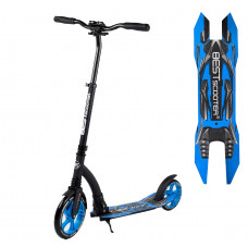 """Самокат двухколесный """"Best Scooter"""" 54664, синий, колеса PU - переднее 23 см, заднее - 20 см, 1 амортизатор, широкий руль, зажим руля"""
