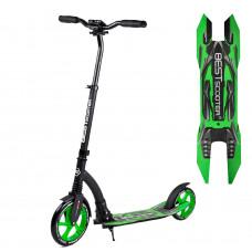 """Самокат двухколесный """"Best Scooter"""" 52266, зеленый, колеса PU - переднее 23 см, заднее - 20 см, 1 амортизатор, широкий руль, зажим руля"""
