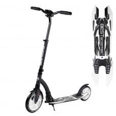 """Самокат двухколесный """"Best Scooter"""" 75343, черный, колеса PU - переднее 23 см, заднее - 20 см, 1 амортизатор, широкий руль, зажим руля"""