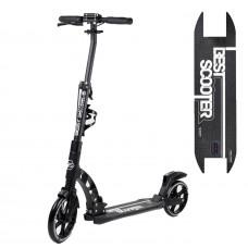 """Самокат двоколісний """"Best Scooter"""" 92228, чорний, колеса PU, d переднього колеса 230мм, d заднього колеса 200мм, 2 амортизатора, дискові гальма"""