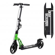 """Самокат двоколісний """"Best Scooter"""" 49161, зелений, колеса PU, d переднього колеса 230мм, d заднього колеса 200мм, 2 амортизатора, дискові гальма"""