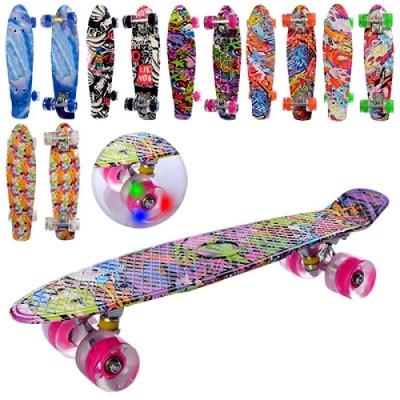 Скейт Penny board Пенни борд светящиеся колеса (MS 0748-3)