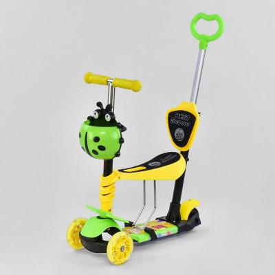 Самокат 5в1 Best Scooter Зеленый/Желтый с подсветкой платформы и колес (11844)