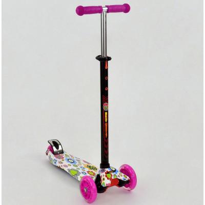 Самокат Best Scooter MAXI Розовый в цветочки, светящиеся колеса (1309)