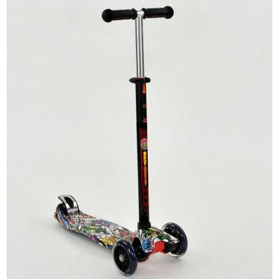 Самокат-кикборд Best Scooter MAXI Черный, светящиеся колеса (1386)