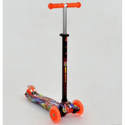 Самокат-кикборд Best Scooter MAXI Оранжевый, светящиеся колеса (1389)