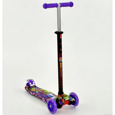 Самокат-кикборд Best Scooter MAXI Фиолетовый, светящиеся колеса (1390)