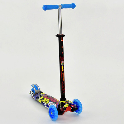 Самокат-кикборд Best Scooter MAXI Голубой, светящиеся колеса (1392)