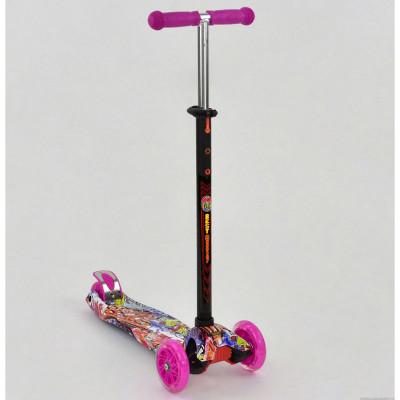 Самокат-кикборд Best Scooter MAXI Малиновый, светящиеся колеса (1395)