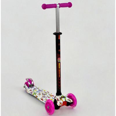 Самокат-кикборд Best Scooter MAXI Бабочки розовый, светящиеся колеса (1396)