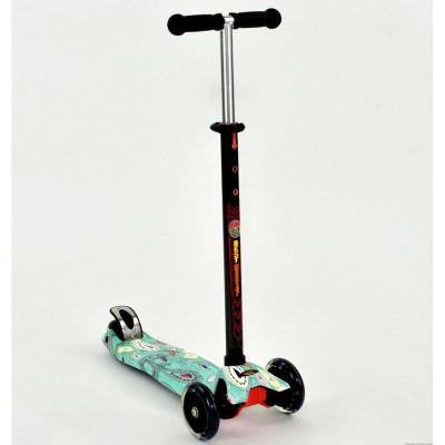 Самокат-кикборд Best Scooter MAXI Бирюза, светящиеся колеса (1398)