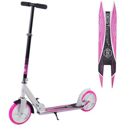 Детский двухколесный складной самокат Best Scooter - Белый с розовым
