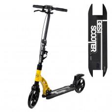 """Самокат двоколісний """"Best Scooter"""" 65470, жовтий, колеса PU, d переднього колеса 230мм, d заднього колеса 200мм, 2 амортизатора, дискові гальма"""