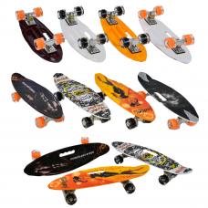 Скейт C 32040 Best Board, дека с ручкой, 4 вида, доска=60см, колеса PU светятся, d=6см