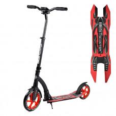 """Самокат двухколесный """"Best Scooter"""" 40860, красный, колеса PU - переднее 23 см, заднее - 20 см, 1 амортизатор, широкий руль, зажим руля"""