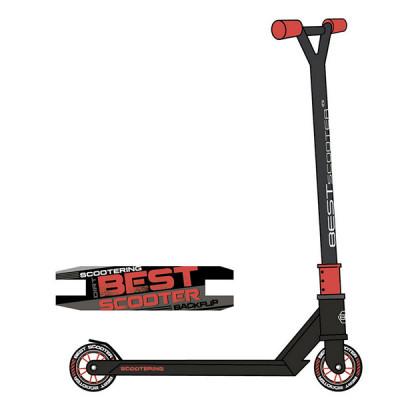 Самокат трюковый Best Scooter HIC-система (Черный с красным)