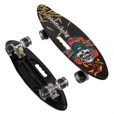 """Скейт Пенні борд """"Череп"""" дошка = 60 см, колеса PU, світяться, d = 6см 51722 """"Best Board"""""""