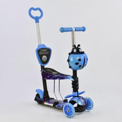 Самокат 5в1 Best Scooter Абстракция/Синий с подсветкой платформы и колес (55001)