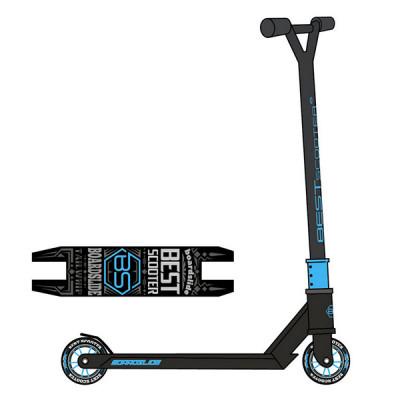 Самокат трюковый Best Scooter (Черный с синим)