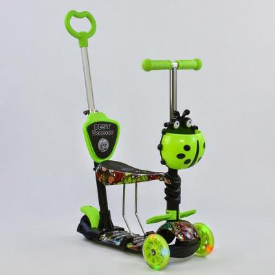 Самокат 5в1 Best Scooter Абстракция/Зеленый с подсветкой колес (55940)