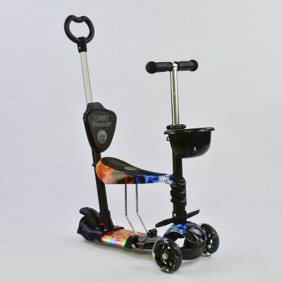 Самокат 5в1 Best Scooter Абстракция/Черный с подсветкой платформы и колес (57030)