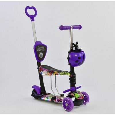 Самокат 5в1 Best Scooter Абстракция/Фиолетовый с подсветкой платформы и колес (58040)