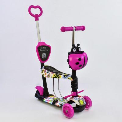Самокат 5в1 Best Scooter Абстракция/Розовый с подсветкой платформы и колес (62090)