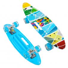 """Скейт Пенні борд дошка = 60 см, колеса PU, світяться, d = 6см 62470 """"Best Board"""""""