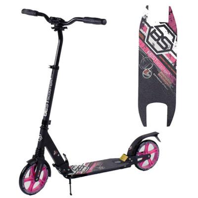 Самокат алюминиевый складной Best Scooter (Черный с розовым)
