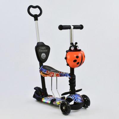 Самокат 5в1 Best Scooter Абстракция/Черный с подсветкой платформы и колес (63010)