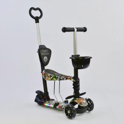 Самокат 5в1 Best Scooter Абстракция с подсветкой платформы и колес (64020)