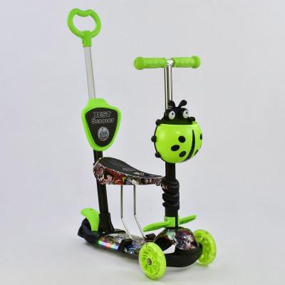 Самокат 5в1 Best Scooter Абстракция/Зеленый с подсветкой платформы и колес (65030)