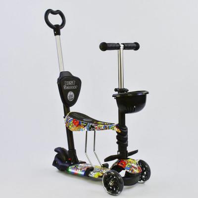 Самокат 5в1 Best Scooter Абстракция с подсветкой платформы и колес (68060)