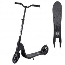 """Самокат двухколесный 72378 """"Best Scooter"""" цвет черный, колеса PU - 20 см, широкий велосипедный руль, новый зажим руля"""