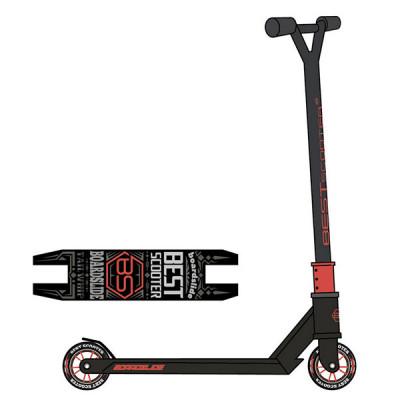Самокат трюковый Best Scooter (Черный с красным)