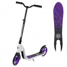 """Самокат двухколесный 90003 """"Best Scooter"""" цвет фиолетовый, колеса PU - 20 см, широкий велосипедный руль, новый зажим руля"""