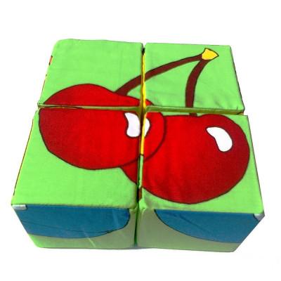 Развивающие мягкие кубики Умная игрушка Фрукты 4шт