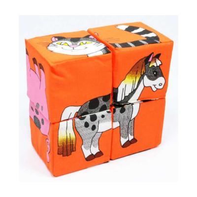 Развивающие мягкие кубики Умная игрушка Домашние животные собери картинку 4шт