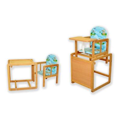 Детский стульчик-трансформер со столом для кормления из дерева (дерево-01)