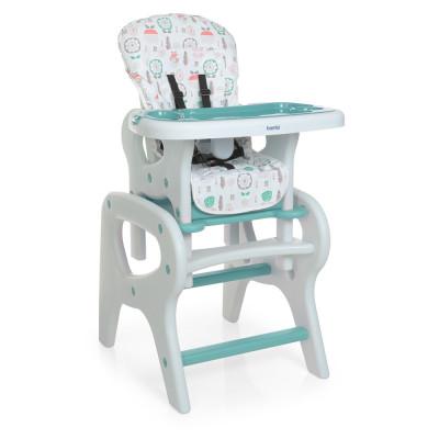 Дитячий стільчик для годування-трансформер зі столиком, Flowers Mint (0816)