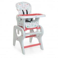 Детский стульчик для кормления-трансформер со столиком, 0816, Flowers Pink
