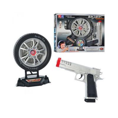 Детский лазерный пистолет 20см, мишень в виде колеса 16 см (2148)