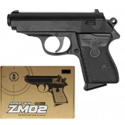 Детский пистолет металлический с пульками 6мм (ZM02)