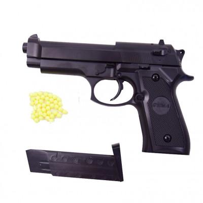 Детский пистолет металл+пластик, с пульками и магазином, копия Beretta M92 (ZM18)