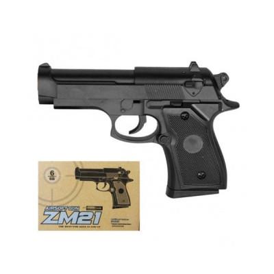 Детский пистолет металлический на пульках 6мм (ZM21)