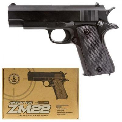 Детский пистолет металл+пластик, стреляет пластиковыми пулями (ZM22)