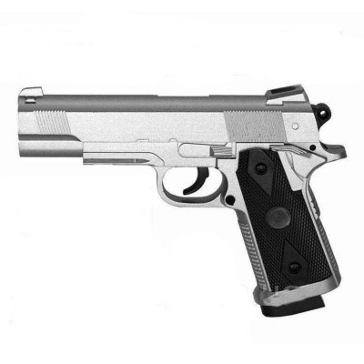 Детский пистолет металлический на пульках, серебристый (ZM 25)