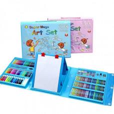 Набор для рисования Чемодан с мольбертом Super Mega Art Set - 208 предметов (Голубой, розовый)