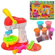 Тісто для ліпки: 6 кольорів (баночки з кришками), морозиво, апарат-прес, інструменти, формочки
