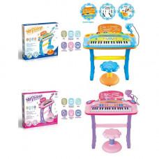 Синтезатор: 37 клавіш, стільчик, мікрофон, муз, світло, USB шнур, 2 кольори, батарейка, в коробці
